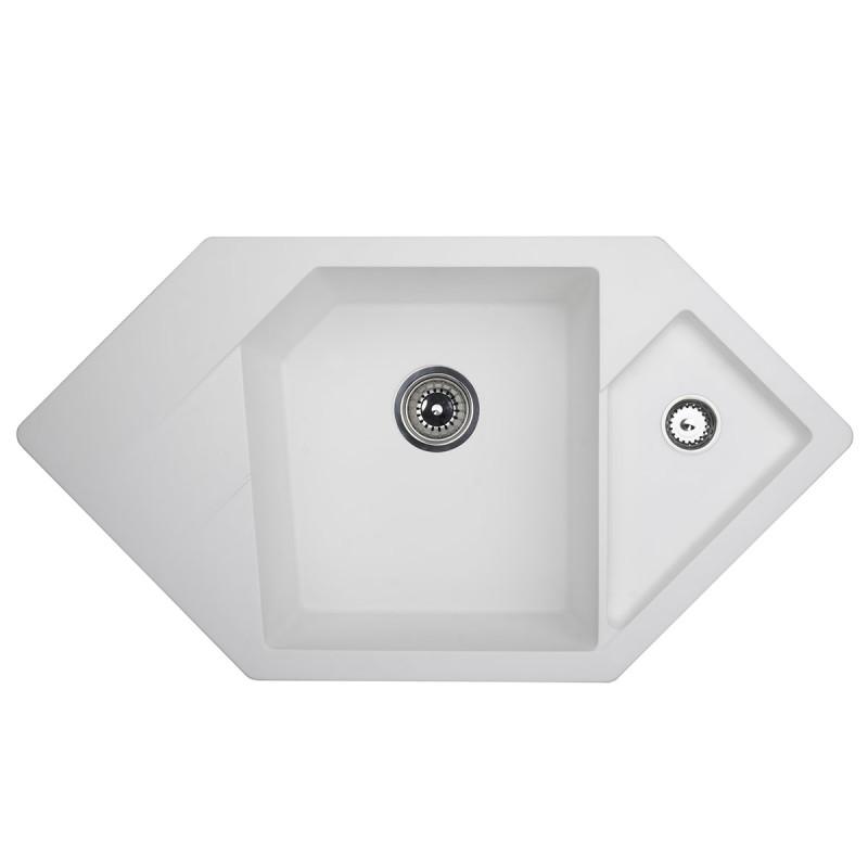 Metalac granitna usadna sudopera xDiamond bela 960x510 Ø90