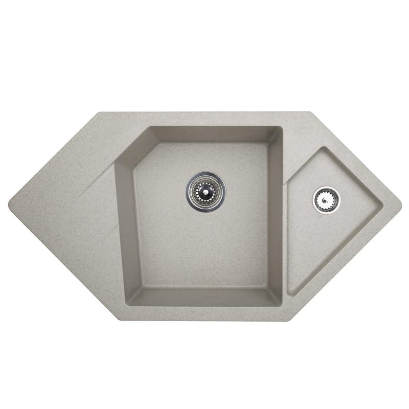 Metalac granitna usadna sudopera xDiamond bež 960x510 Ø90