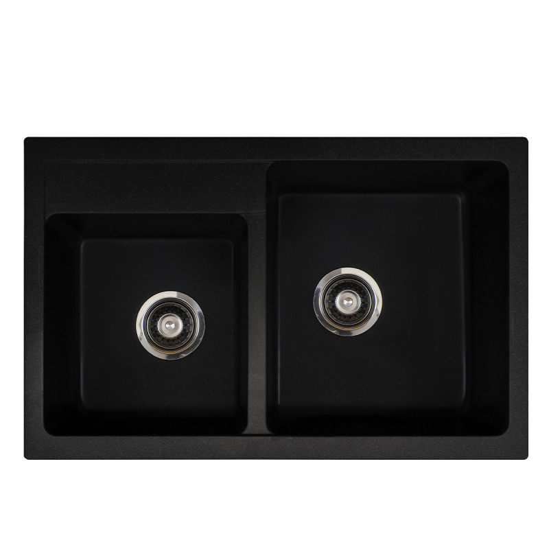 Metalac granitna usadna sudopera xQuadro Plus 2D crna 780x500 Ø90