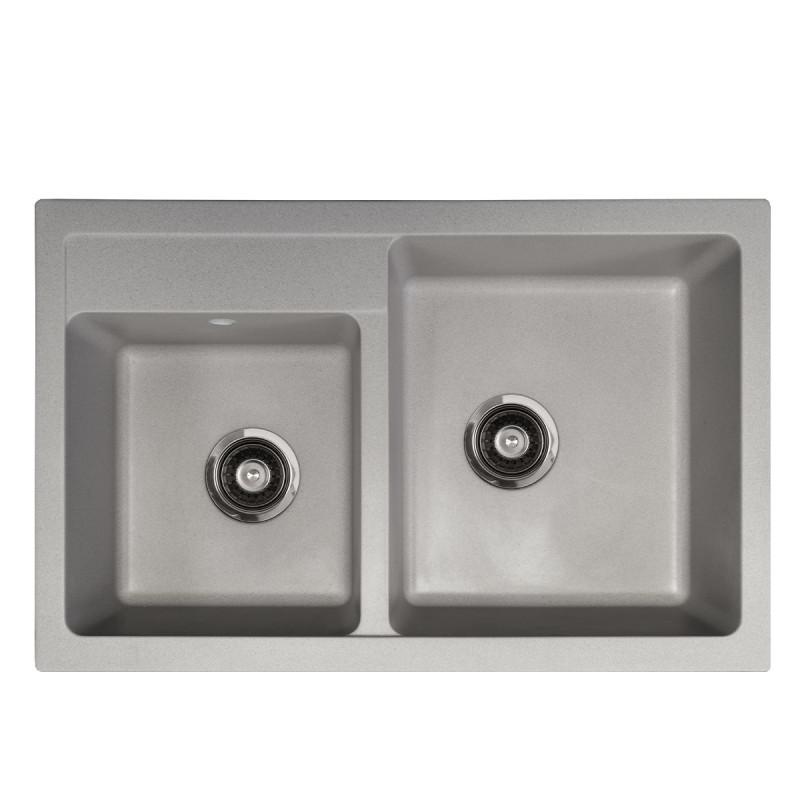 Metalac granitna usadna sudopera xQuadro Plus 2D siva 780x500 Ø90