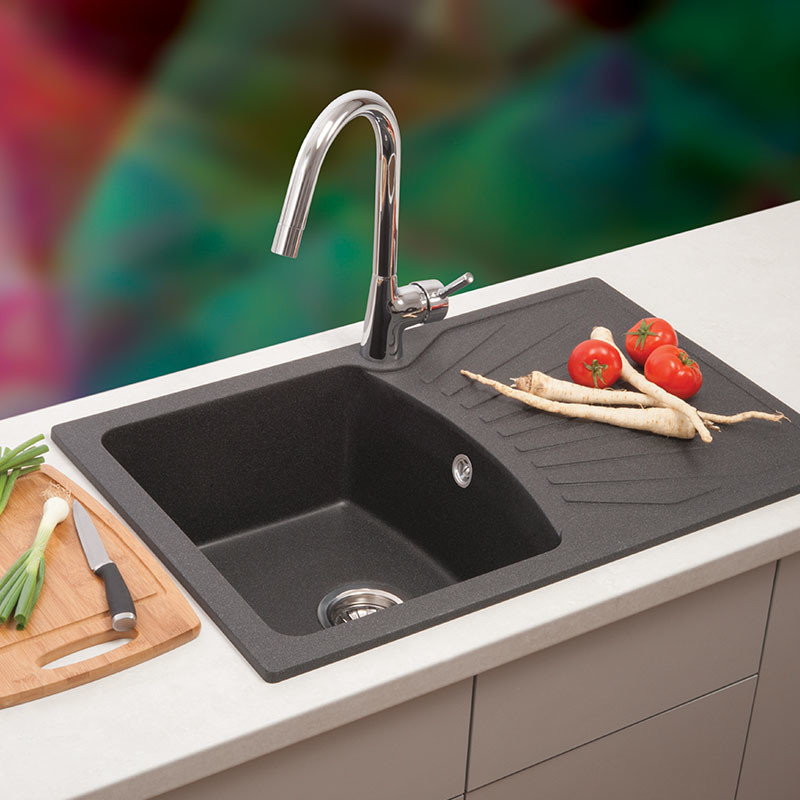 Metalac granitna usadna sudopera xQuadro Plus šampanj 770x500 Ø90