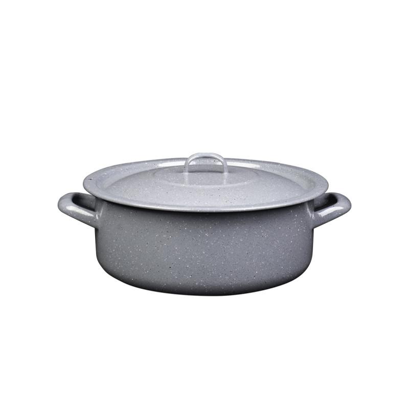 Metalac plitka šerpa PRSKANO SIVO 34cm/12,5lit