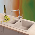 Metalac granitna usadna sudopera xQuadro Plus 1.5D šampanj Ø90/60